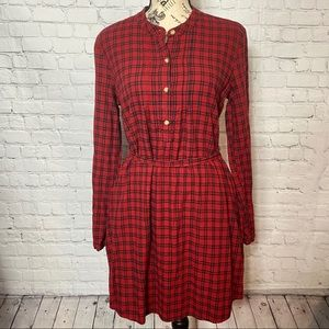 Abercrombie and Fitch  red plaid long sleeve dress